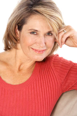 Smiling happy  woman. Isolated over white background  photo