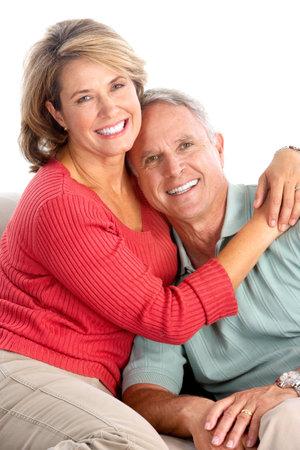 Happy elderly seniors couple. Isolated over white background Stock Photo - 6733162