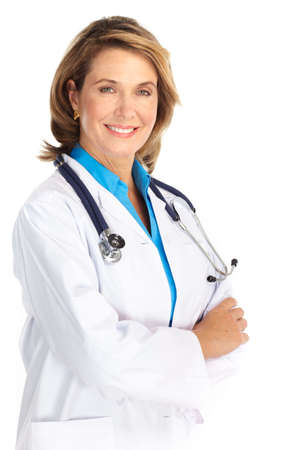 Smiling medical doctor woman with stethoscope. Isolated over white background  Фото со стока