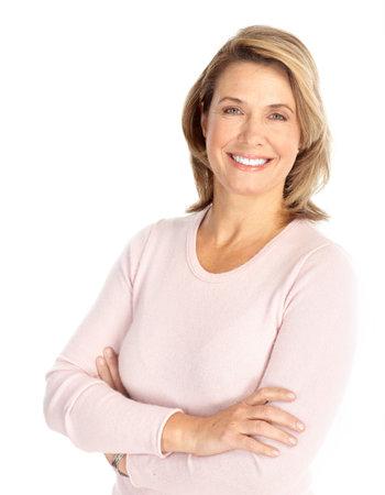 Lachende tevreden vrouw. Geïsoleerd op witte achtergrond