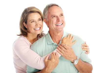 Gelukkig senioren paar in de liefde. Geïsoleerd op witte achtergrond  Stockfoto