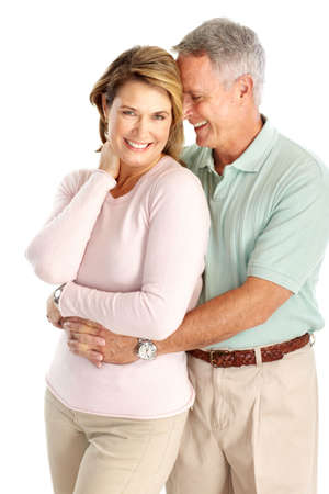 Happy seniors couple in love. Isolated over white background Stock Photo - 6744293