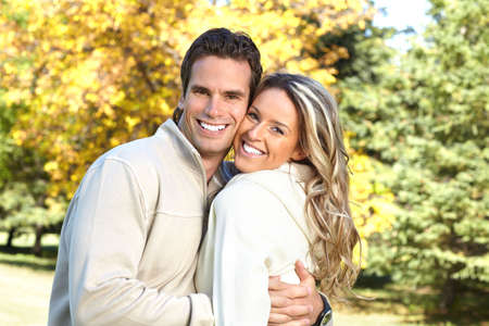 Young  happy smiling couple in love Stock Photo - 6744335