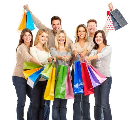 chicas de compras: Feliz de compras de compras. Aislados sobre fondo blanco
