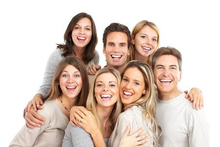 euforia: Feliz gente divertida. Aislados sobre fondo blanco