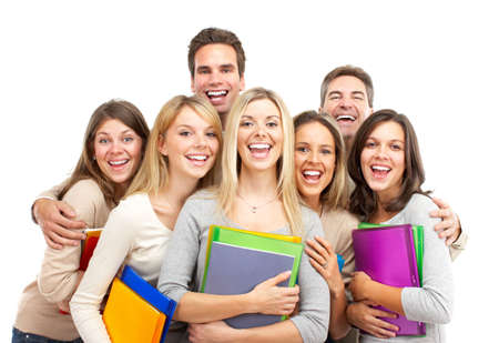 Large group of smiling  students. Isolated over white background photo