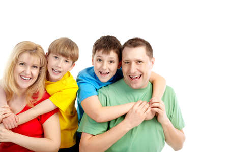 Happy family. Father, mother and boy. Over white background Stock Photo - 6756240
