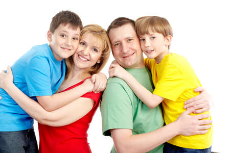 Happy family. Father, mother and boy. Over white background Stock Photo - 6756277