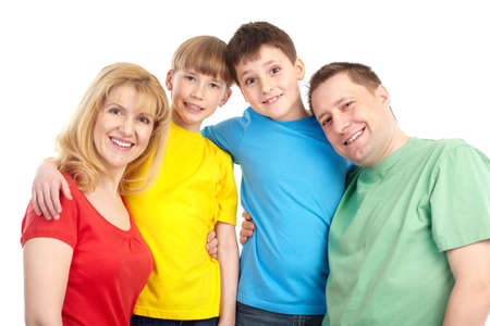 Happy family. Father, mother and children. . Over white background Stock Photo - 6757868
