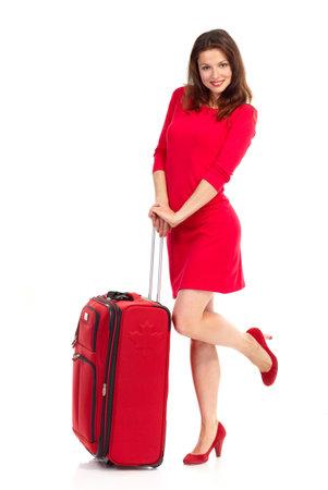 mujer con maleta: Mujer feliz tur�stica. Aislados sobre fondo blanco
