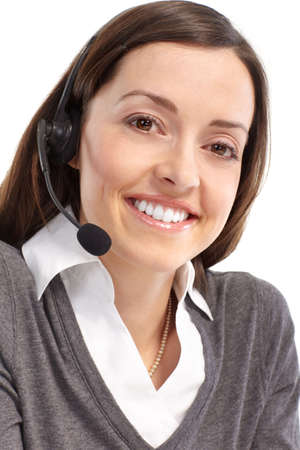 Beautiful  call center operator with headset. Over white background Stock Photo - 6783571