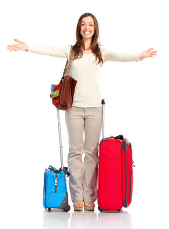 Happy tourist woman . Isolated over white background Stock Photo - 6783570