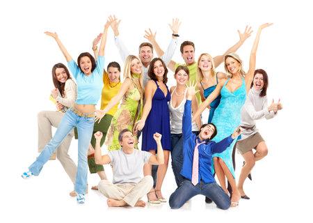 foule mains: Gens heureux dr�les. Isol� sur fond blanc