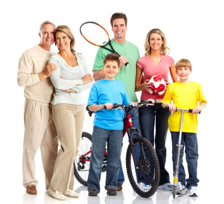 Happy sportive family. Father, mother and children. . Over white background