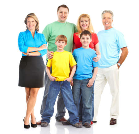 Happy family. Father, mother and children. . Over white background Stock Photo - 6783617