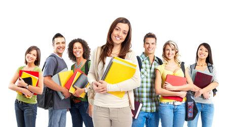 Grote groep lachende studenten. Geïsoleerd via witte achtergrond Stockfoto - 6849549