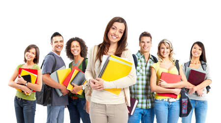 study: Large group of smiling  students. Isolated over white background