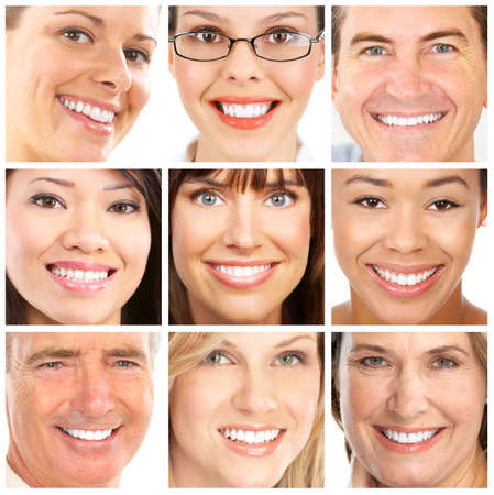 Faces of smiling people. Healthy teeth. Smile Stock Photo - 6849558