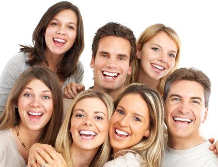 Happy grappig mensen. Geïsoleerd via witte achtergrond Stockfoto - 6849550