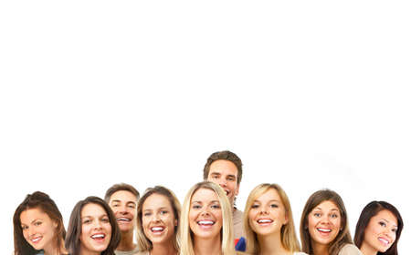 Happy funny people. Isolated over white background  photo