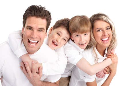 smiles teeth: Happy family. Father, mother and children. Over white background