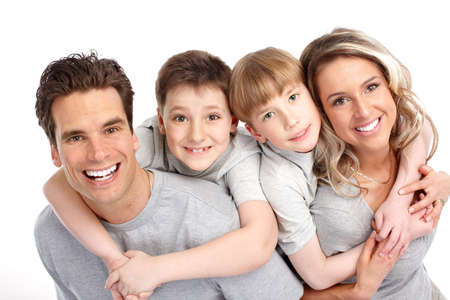 Happy family. Father, mother and children. Over white background Stock Photo - 6817269
