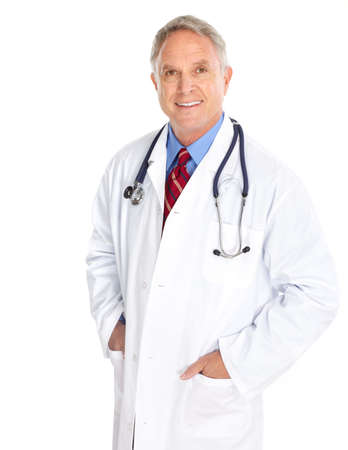 doctor with stethoscope: Smiling medical doctor with stethoscope. Isolated over white background