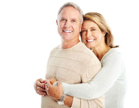 old man: Happy seniors couple in love. Isolated over white background  Stock Photo