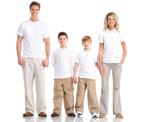 Happy family. Father, mother and children. Over white background Stock Photo - 6817288