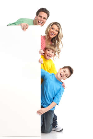 Happy family. Father, mother and children. . Over white background Stock Photo - 6817143