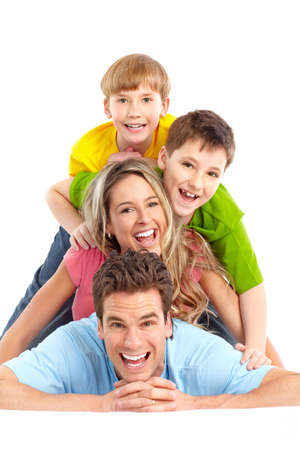 Happy family. Father, mother and children. Over white background  photo