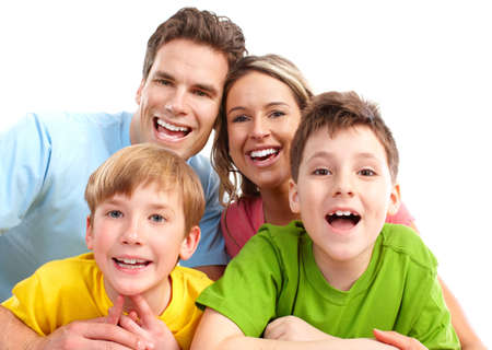 Happy family. Father, mother and children. Over white background Stock Photo - 6870103