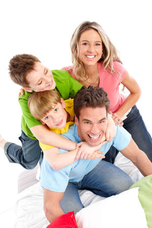 Happy family. Father, mother and children. Over white background Stock Photo - 6817825