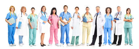 Smiling medical doctors with stethoscopes. Isolated over white background Stock Photo - 6817570