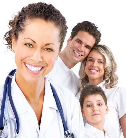 family practitioner: Smiling family medical doctor and young family. Over white background