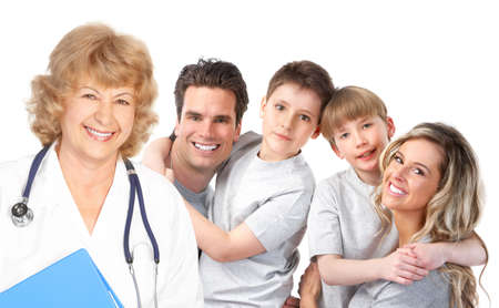 family doctor: Smiling family medical doctor and young family. Over white background