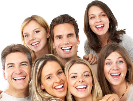 big smile: Happy funny people. Isolated over white background