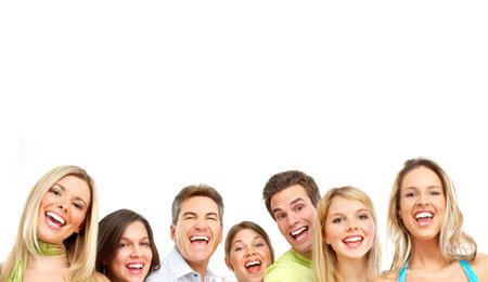 Happy witzige Leute. Über weißen Hintergrund isoliert Standard-Bild