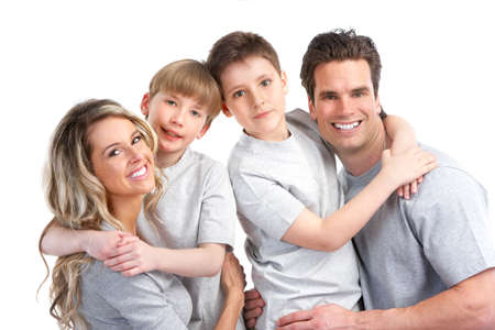 Happy family. Father, mother and children. Over white background Stock Photo - 6817679
