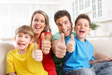 Happy family. Father, mother and children. Over white background Stock Photo - 6817926