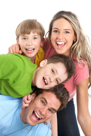 Happy family. Father, mother and children. Over white background Stock Photo - 6817927