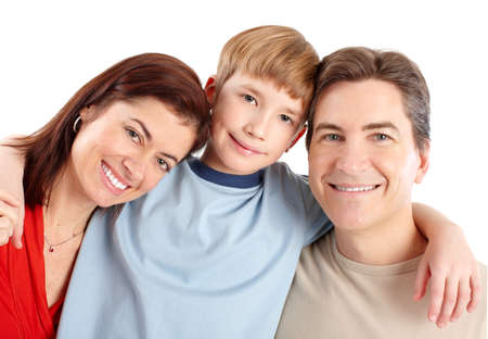 Happy family. Father, mother and boy. Over white background Stock Photo - 6925263