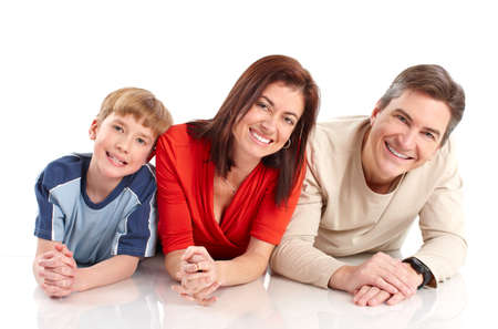 Happy family. Father, mother and boy. Over white background Stock Photo - 6924967