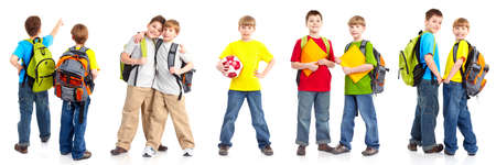 Happy smiling schoolboys. Isolated over white background Imagens - 6925313