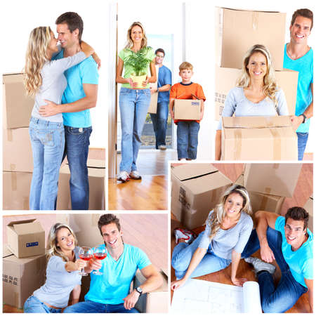 Young happy family moving into their new home  photo