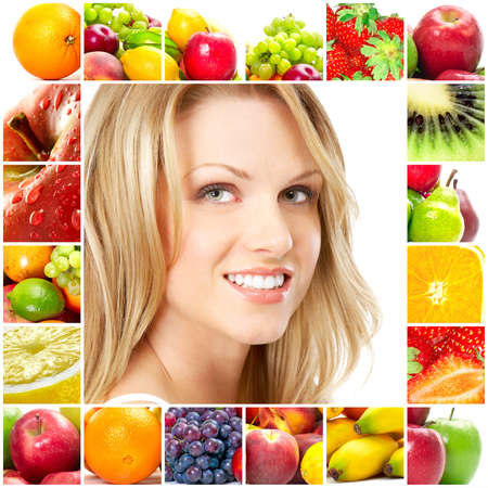 Young beautiful smiling woman with fruits Stock Photo - 6924930