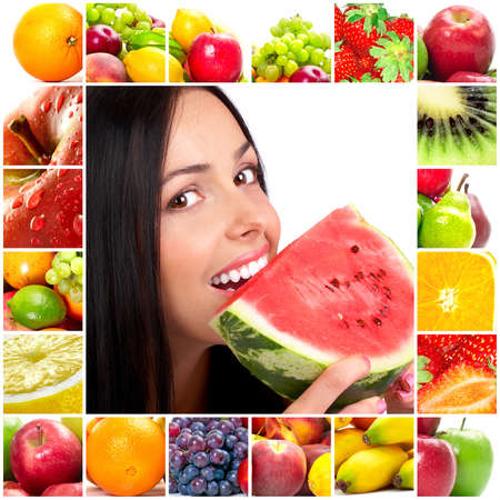 Young beautiful smiling woman with fruits  photo