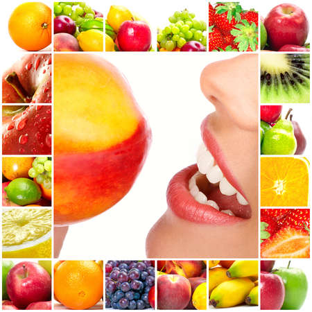 Young beautiful smiling woman with fruits Stock Photo - 6924880