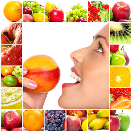 Young beautiful smiling woman with fruits
