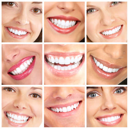 mature woman face: Faces of smiling people. Healthy teeth. Smile
